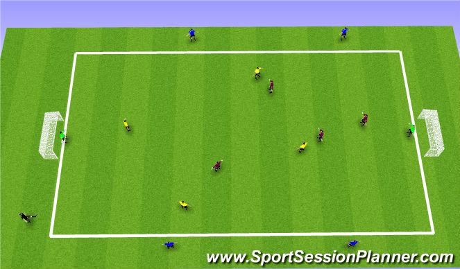 Football/Soccer Session Plan Drill (Colour): 3 Team Transition