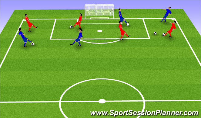 Football/Soccer Session Plan Drill (Colour): Fitenss w/ Ball