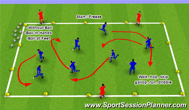 Football/Soccer Session Plan Drill (Colour): Start / Freeze