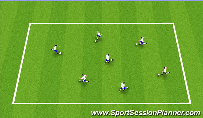 Football/Soccer Session Plan Drill (Colour): Technical Dribbling Warm Up