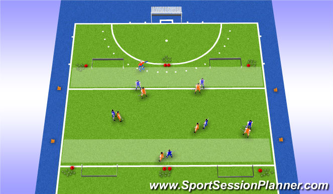 Hockey Session Plan Drill (Colour): Partijvorm met accent op breed spelen en passen