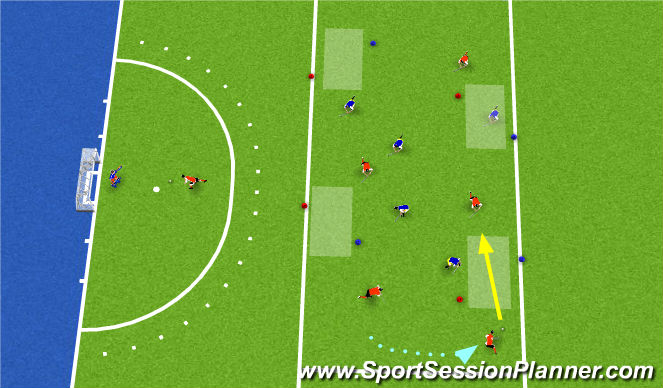Hockey Session Plan Drill (Colour): Vier-poorten spel