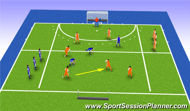 Hockey Session Plan Drill (Colour): Spelvorm combineren