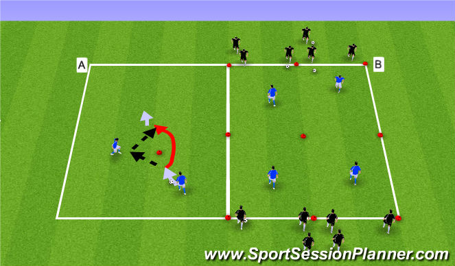 Football/Soccer Session Plan Drill (Colour): Give and Go's + 2v1
