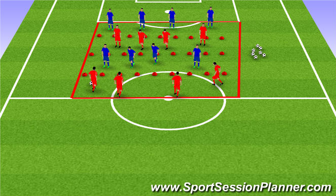 Football/Soccer Session Plan Drill (Colour): Defending the Lines 1