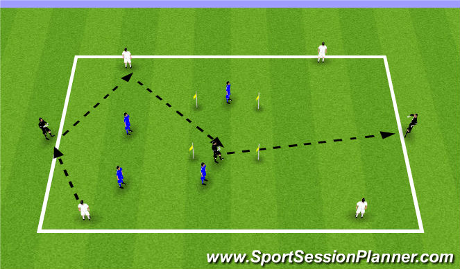 Football/Soccer Session Plan Drill (Colour): 4v4+3