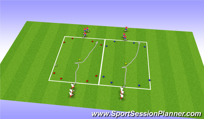 Football/Soccer Session Plan Drill (Colour): Dribbling, change od direction and speed