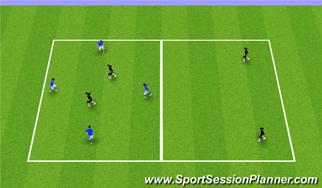 Football/Soccer Session Plan Drill (Colour): 4v2+2 Transition Game