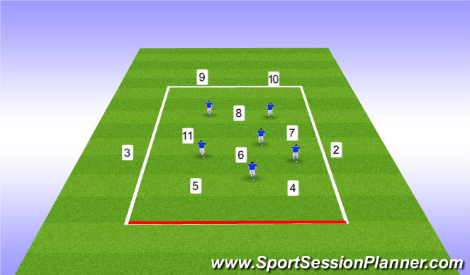 Football/Soccer Session Plan Drill (Colour): 6v6+4 Position Specific Switching Play