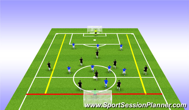 Football/Soccer Session Plan Drill (Colour): Switching Play Game with Divide Pitch & Side Zones