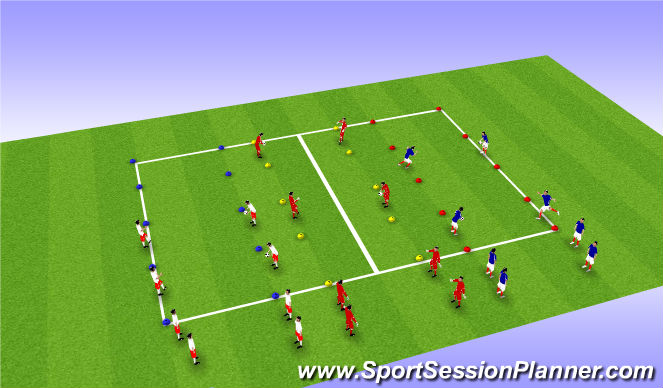 Football/Soccer Session Plan Drill (Colour): Ladder juggling challenge