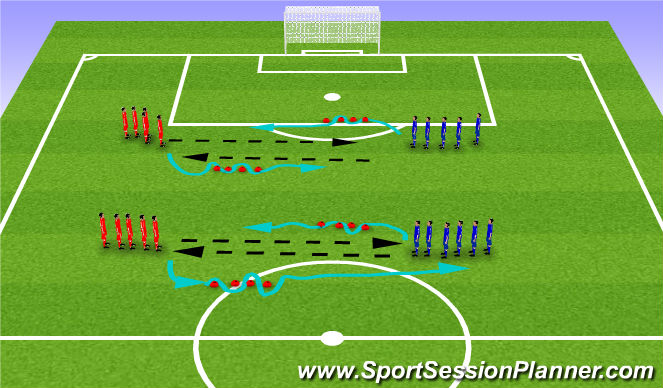 Football/Soccer Session Plan Drill (Colour): Passing/Dribbling