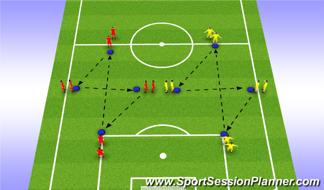 Football/Soccer Session Plan Drill (Colour): Diamond Passing Practice