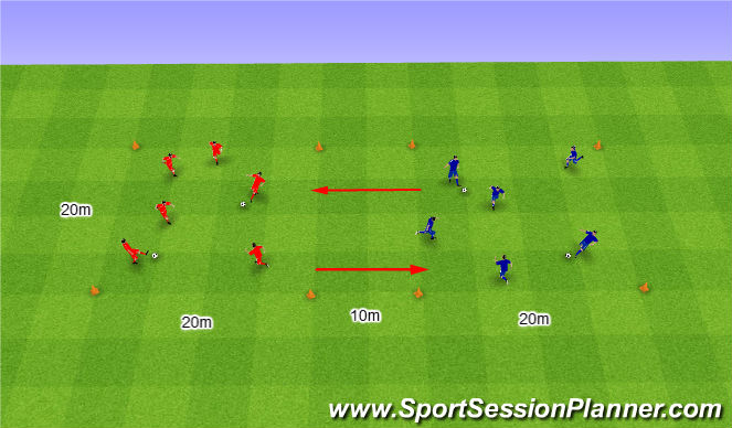 Football/Soccer Session Plan Drill (Colour): Two Teams in two grids. Dwa Zespoły w dwóch polach.