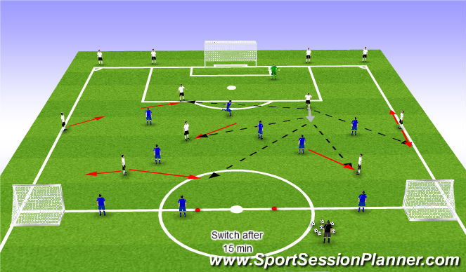 Football/Soccer Session Plan Drill (Colour): 7+1 v 6 Moving away from the ball