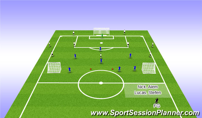 Football/Soccer Session Plan Drill (Colour): 1+5 vs 4