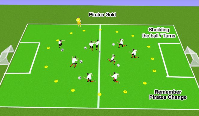 Football/Soccer Session Plan Drill (Colour): Pirates Gold
