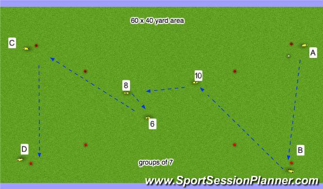 Football/Soccer Session Plan Drill (Colour): STAGE ONE: Warm up Exercise - Passing & Receiving
