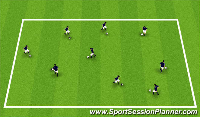 Football/Soccer Session Plan Drill (Colour): Grid Dribble