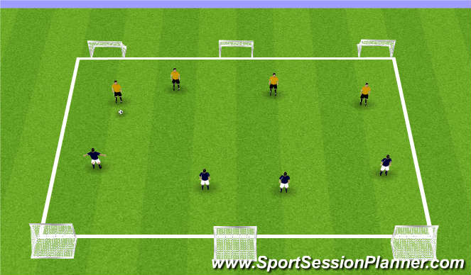 Football/Soccer Session Plan Drill (Colour): 3v3 and 4v4 games to multiple goals