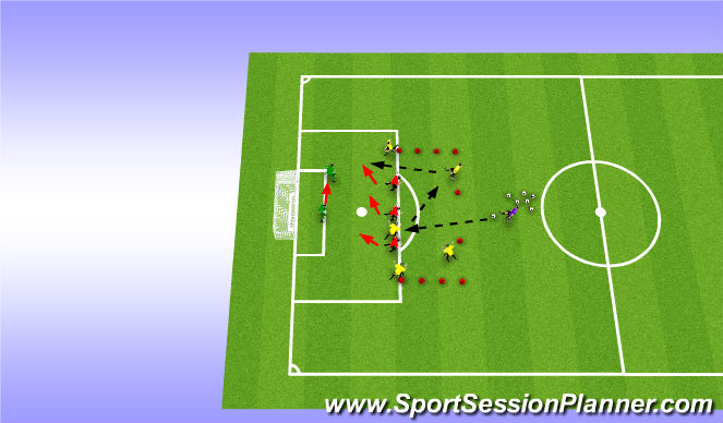 Football/Soccer Session Plan Drill (Colour): 3v5 Pressing at the top of the Box