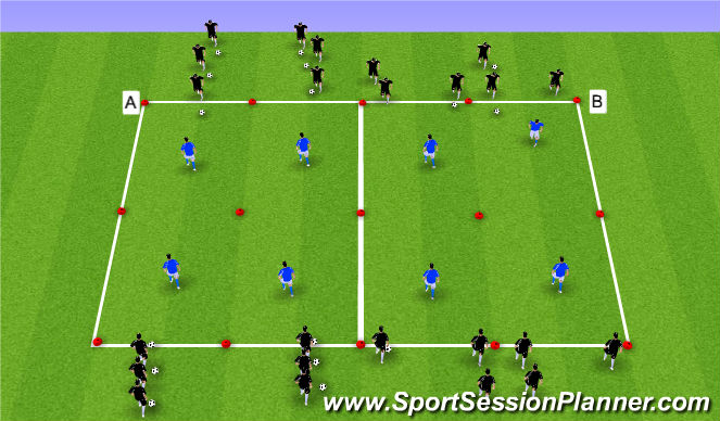 Football/Soccer Session Plan Drill (Colour): 1v1 to 2v1 Progression
