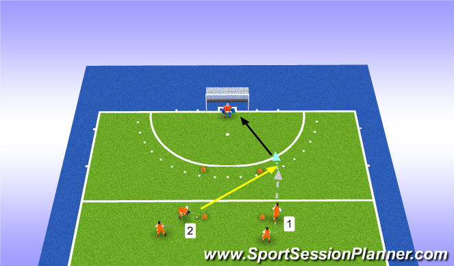 Hockey Session Plan Drill (Colour): Passen in de loop