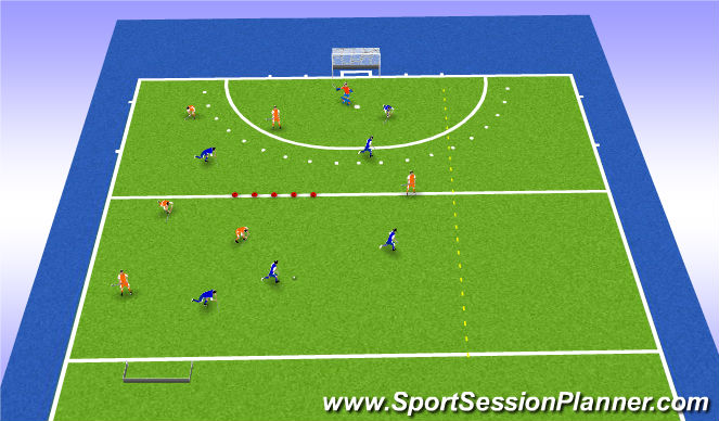 Hockey Session Plan Drill (Colour): Op zoek naar de pass