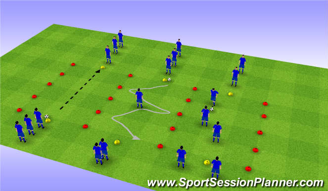 Football/Soccer Session Plan Drill (Colour): Defensive screening