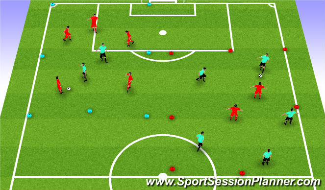 Football/Soccer Session Plan Drill (Colour): 5 v. 2 Game