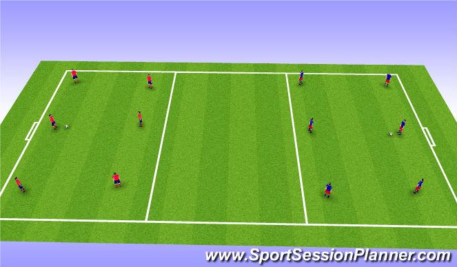 Football/Soccer Session Plan Drill (Colour): 4 Short - Long