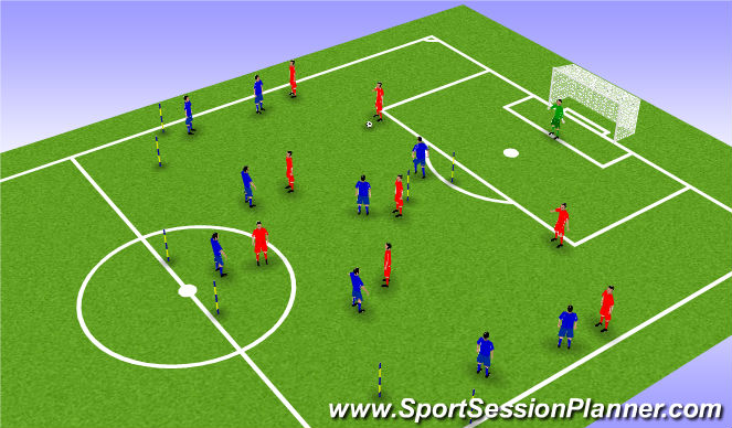 Football/Soccer Session Plan Drill (Colour): 9 v 9 - The Pressing Game