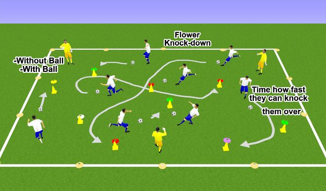 Football/Soccer Session Plan Drill (Colour): Flower Knock-down