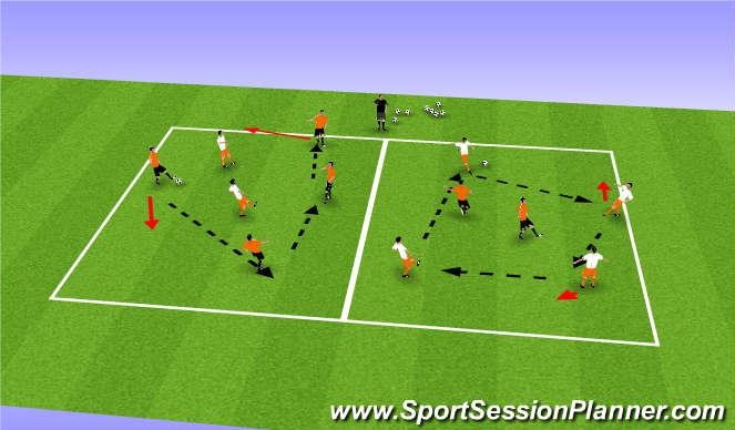 Football/Soccer Session Plan Drill (Colour): 4v2 Possesion