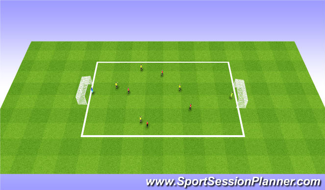 Football/Soccer Session Plan Drill (Colour): 3:3/4:4