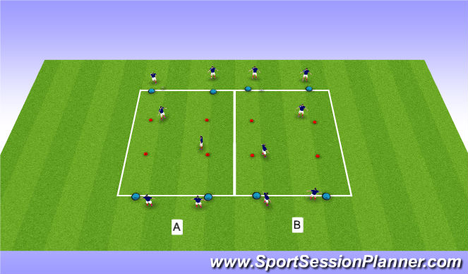 Football/Soccer Session Plan Drill (Colour): Warm Up - Passing Exercise