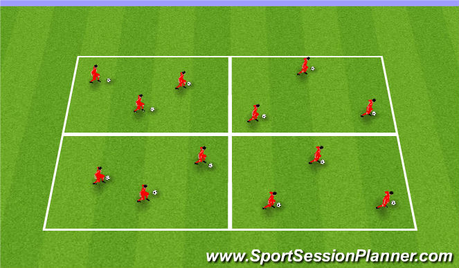 Football/Soccer Session Plan Drill (Colour): Ball Mastery Squares