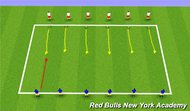 Football/Soccer Session Plan Drill (Colour): Warm up 10 mins