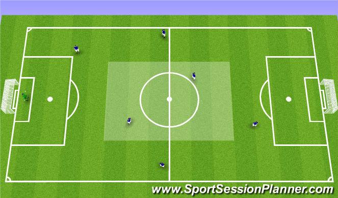 Football/Soccer Session Plan Drill (Colour): 7v7 - 1-diamond-1