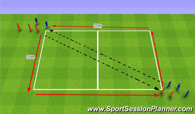 Football/Soccer Session Plan Drill (Colour): Pass and sprint. Podanie i sprint.