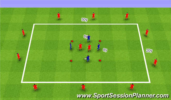 Football/Soccer Session Plan Drill (Colour): 4v2+10