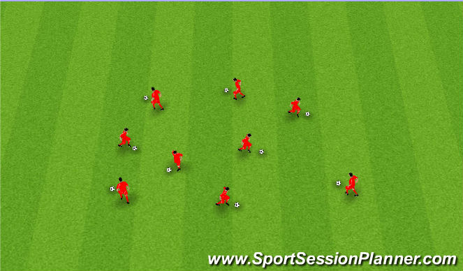 Football/Soccer Session Plan Drill (Colour): Dribbling/Footskills