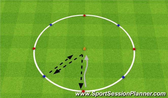Football/Soccer Session Plan Drill (Colour): Warm up - Combination play & dribbling: