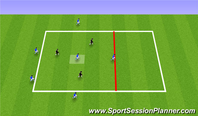 Football/Soccer Session Plan Drill (Colour): 5v3+1 Breaking the Lines