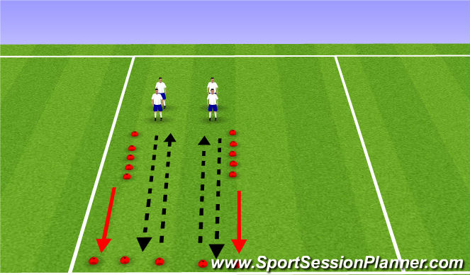 Football/Soccer Session Plan Drill (Colour): Dynamic Warmup/ Intro to Footwork