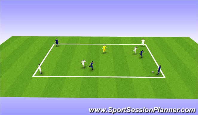 Football/Soccer Session Plan Drill (Colour): 4v4+1 - Positional passing lanes
