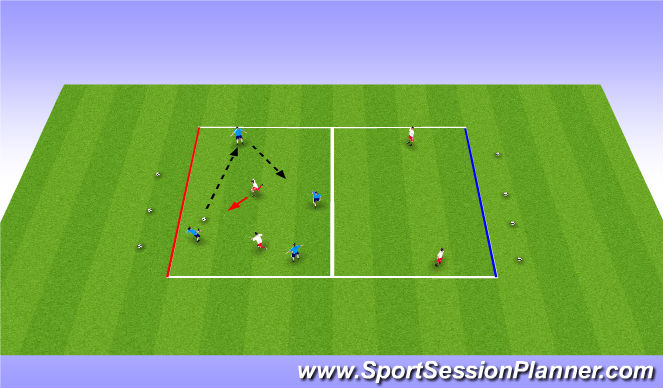 Football/Soccer Session Plan Drill (Colour): 4 v 2 - 2 v 4