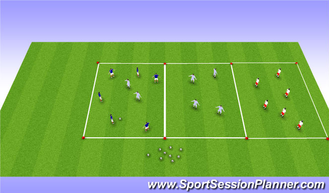 Football/Soccer Session Plan Drill (Colour): Over the river - Box Rondo