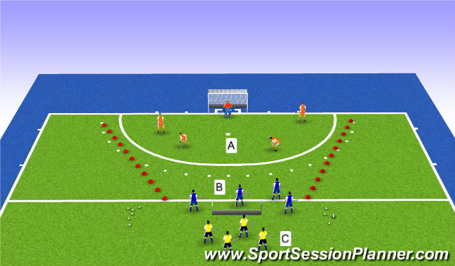 Hockey Session Plan Drill (Colour): Spelvorm met focus op omschakeling