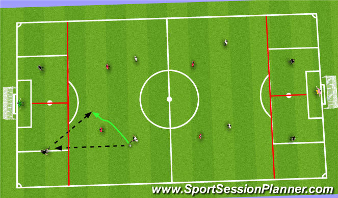 Football/Soccer Session Plan Drill (Colour): SSG - pass receive/score